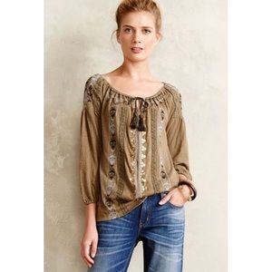 Anthropologie Akemi + Kin Green Peasant Marjal Top